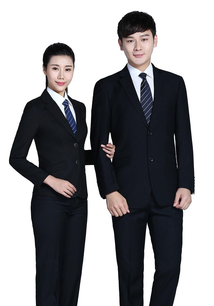 商务黑色两粒扣西服FX001