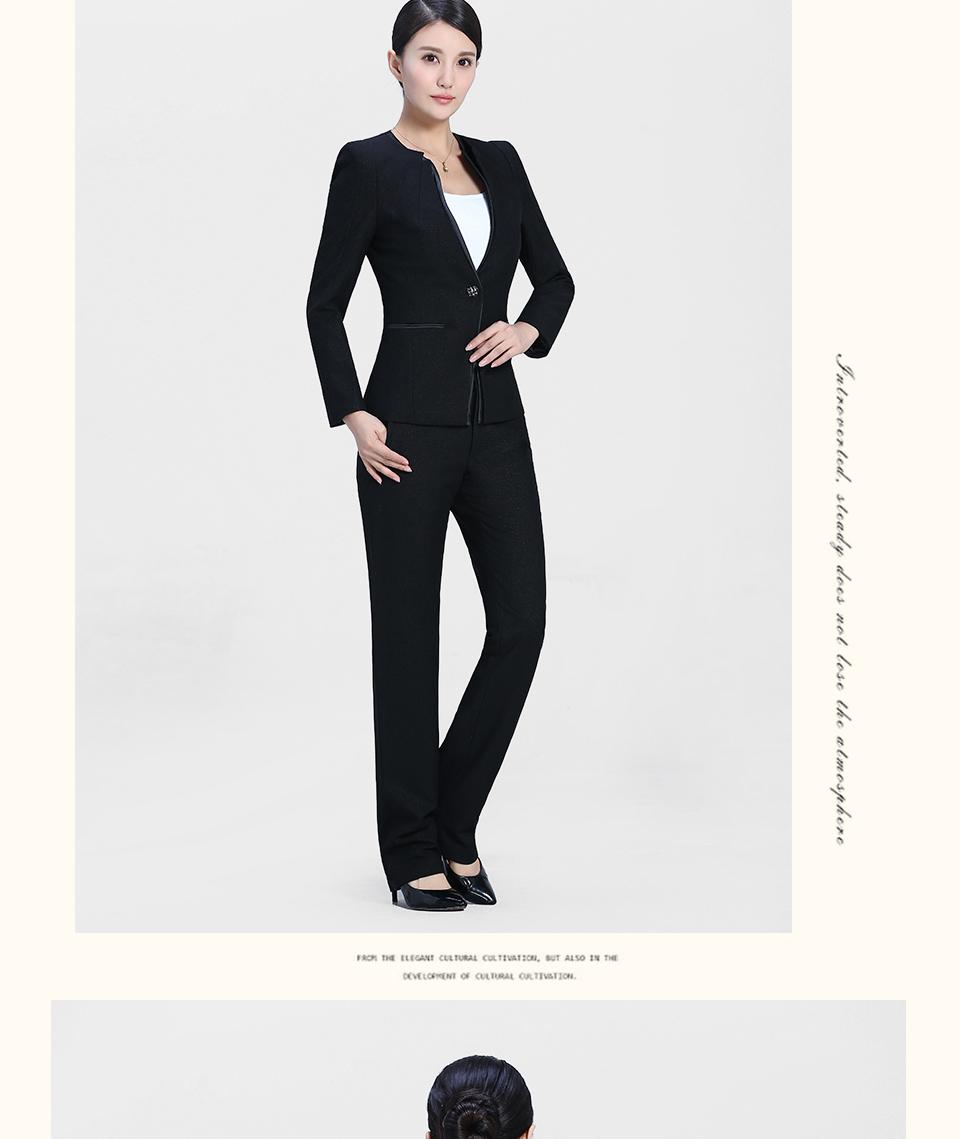 新款黑色V领时尚职业装