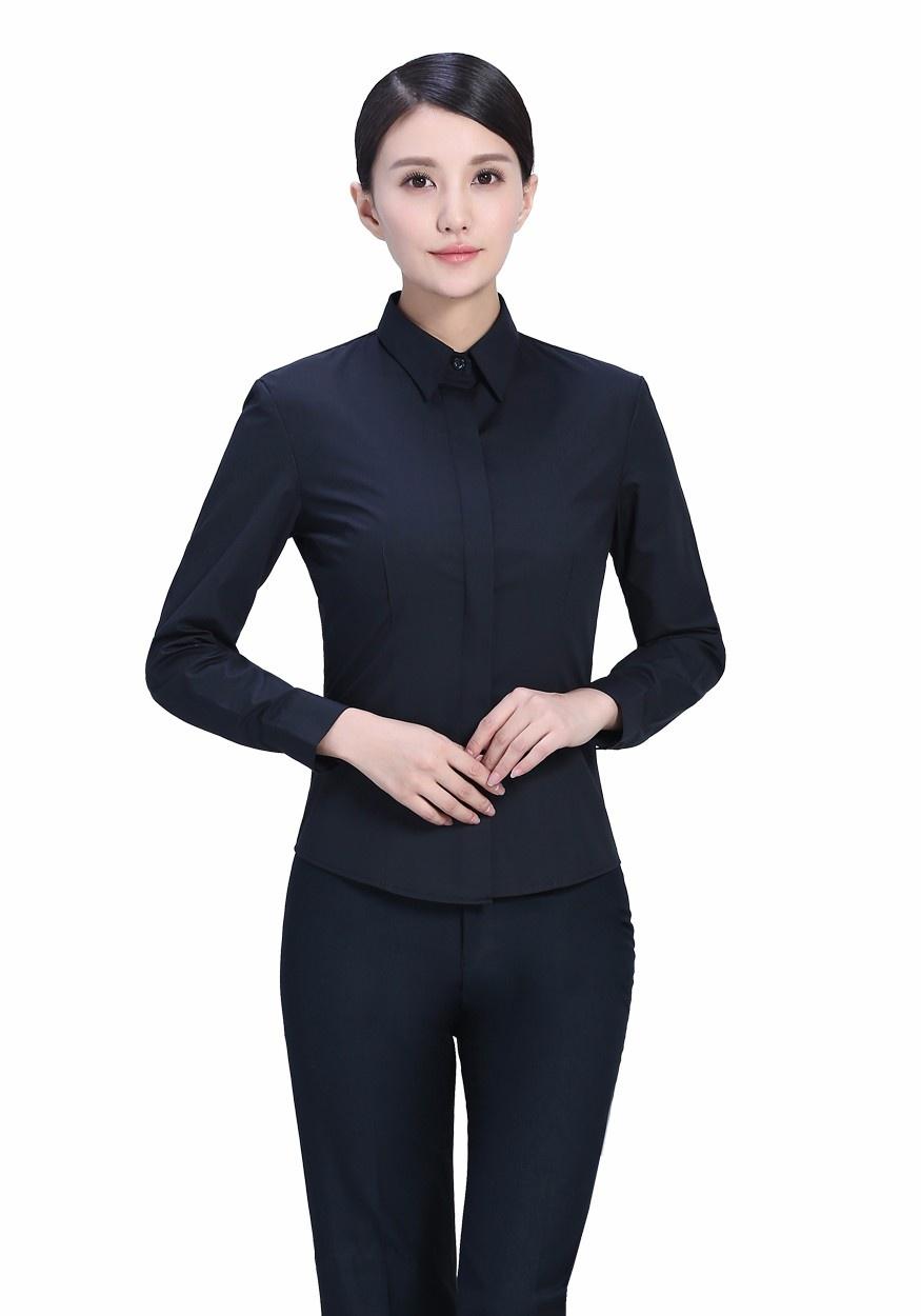 新款衬衫黑色女黑色暗扣商务西服长袖衬衫