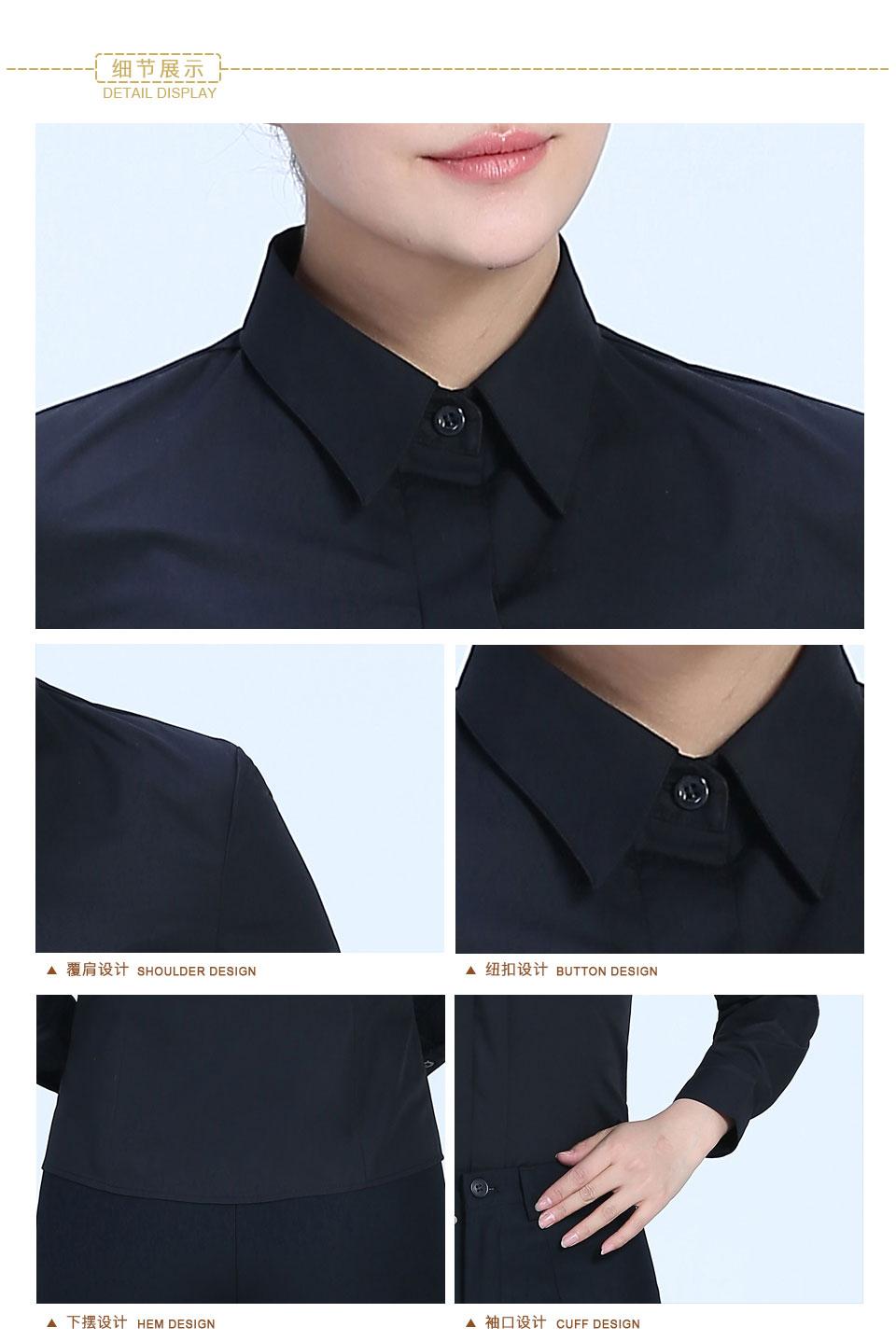 新款衬衫黑色女黑色暗扣商务万博体育man下载长袖衬衫